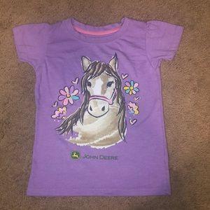 (Girls) Purple Graphic Horse T-Shirt w/Flowers